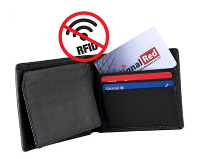 Wallet with rfid signal jamming card
