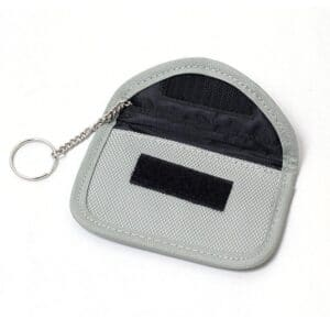 grey rfid blocking bag with oxford fabric front view