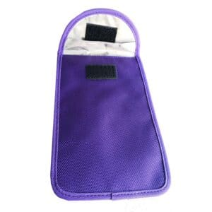 blue rfid blocking bag with oxford fabric front view