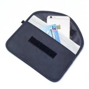 black rfid blocking bag front view