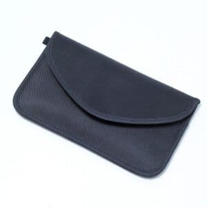 black rfid blocking bag with oxford fabric front view