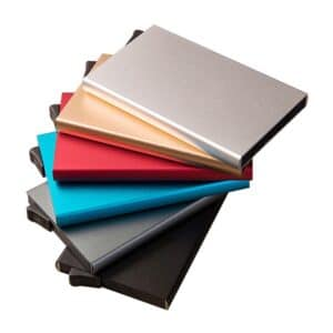 rfid blocking pop-up cases in various colours nicely arranged in spiral