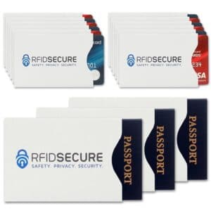 passports and credit cards protected by rfid blocking sleeves