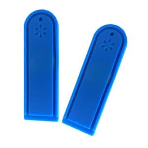 two blue rfid laundry tags front view