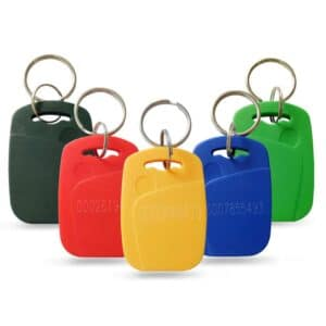 different rfid keyfobs in colors black, red, yellow, blue and green with numbering lasered