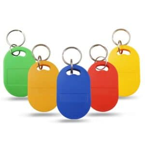 abs rfid keyfobs in different colors as green, orange, blue, red, yellow