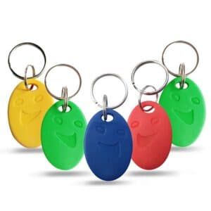 rfid keyfobs with smile in different colors as yellow, green, red and blue