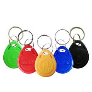 multiple rfid keyfobs in colors green, red, yellow, blue and black with logo embossed