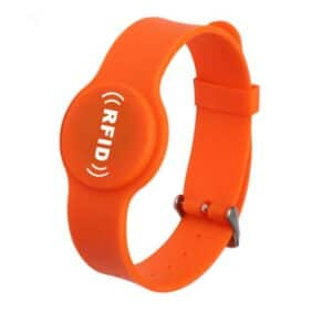 front view of orange silicone rfid wristband with white logo printed