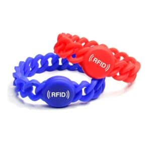 red and blue flexible rfid wristband stapled onto each other
