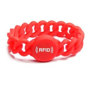 red flexible rfid wristband with white logo printed