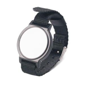 front view of black rfid wristband with nylon band
