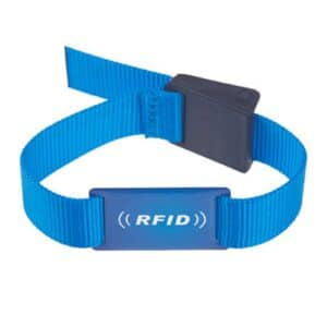 front view of blue rfid wristband with white logo printing