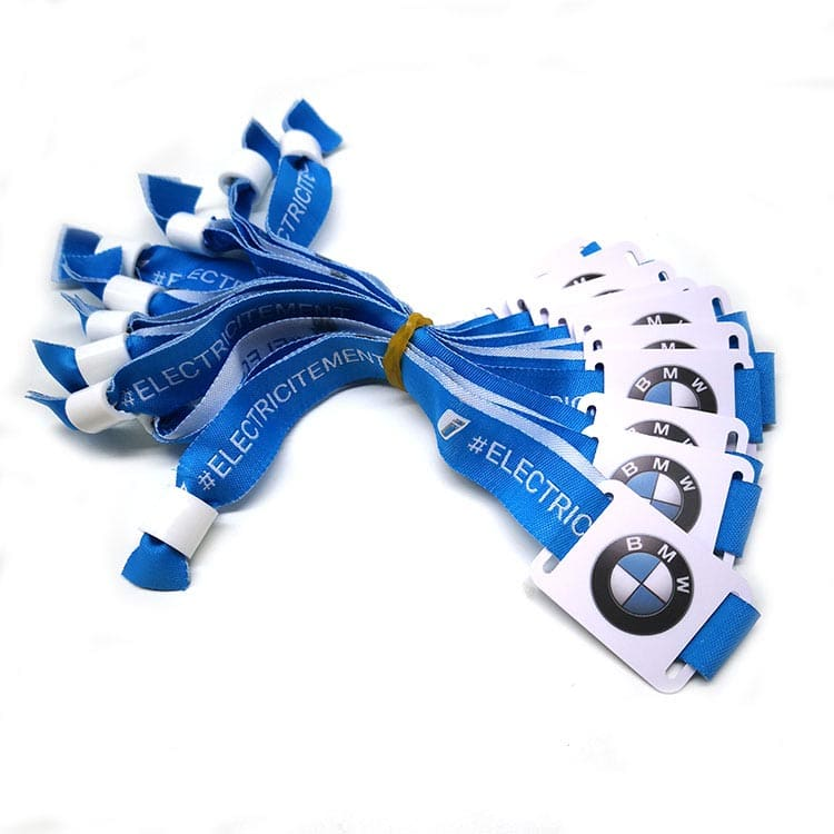 blue woven fabric rfid wristband with design of customer BMW