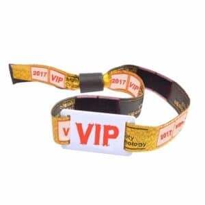 front view of VIP woven fabric rfid wristband with individual design