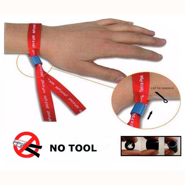 closing mechanism of woven fabric rfid wristband