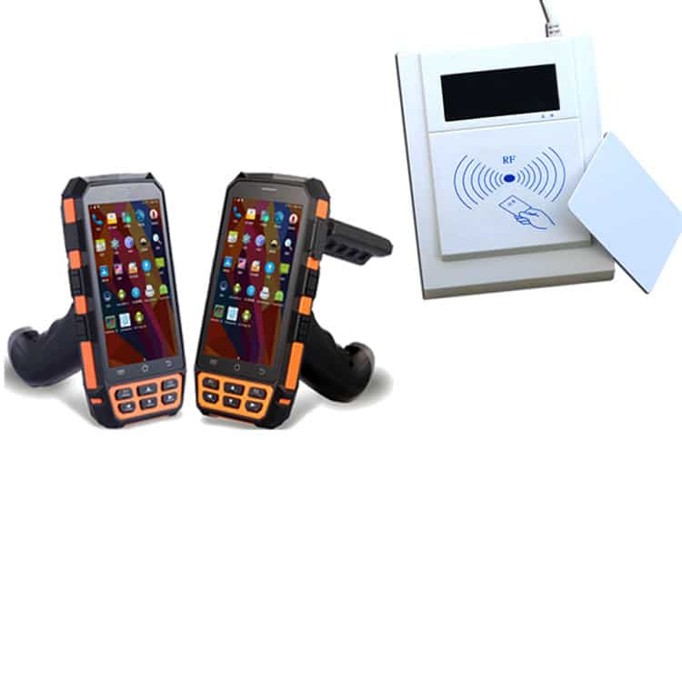 handhelds and stationary card reader next to each other