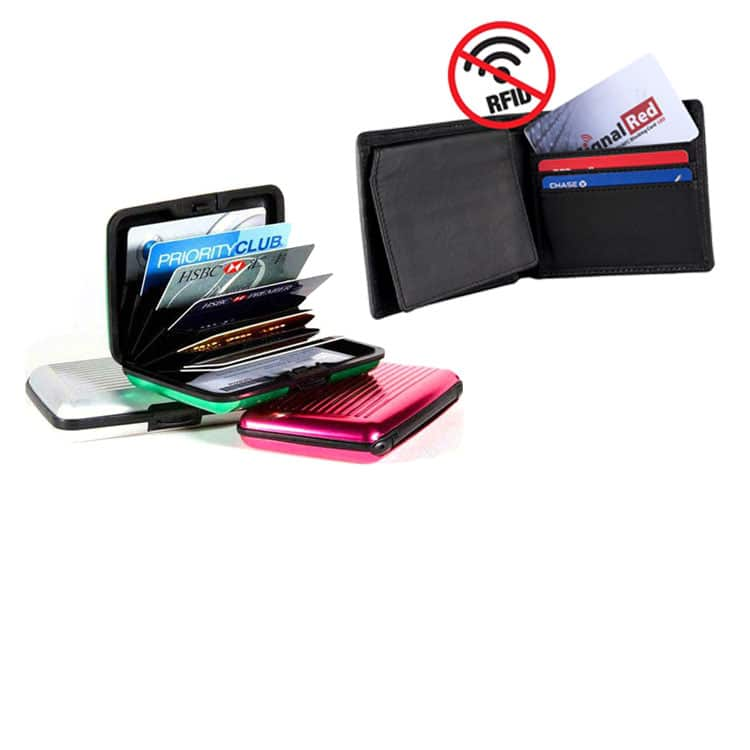 rfid blocking case and wallet with signal jamming card