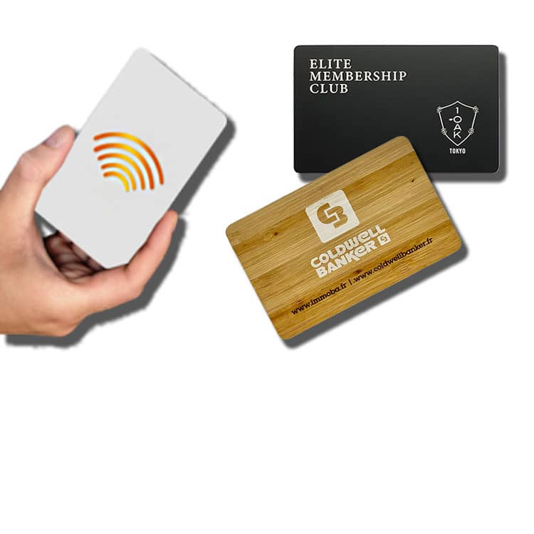 contactless rfid/nfc smart cards made of plastic, wood and metal