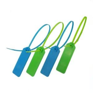 plastic rfid tie tags in green and blue