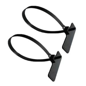 two black rfid tie tags in closed position