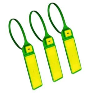 three rfid tie tags green/yellow in closed position