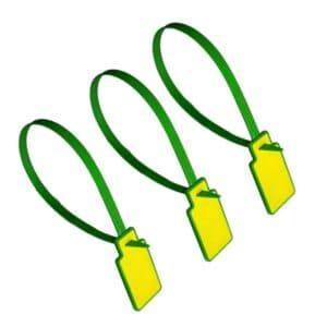 three green/yellow rfid tie tags in closed position