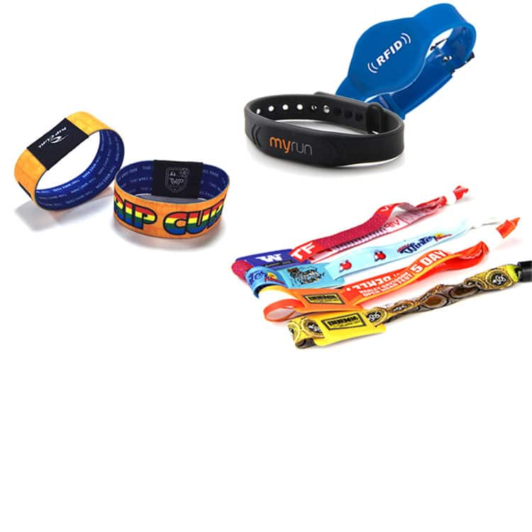 overview of different rfid wristbands in many sizes, shapes and colors